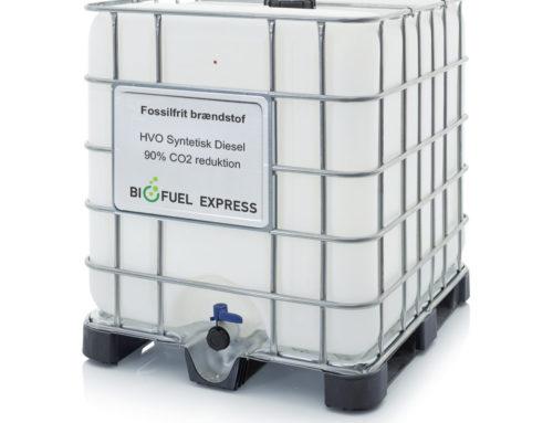 NYHED! HVO Syntetisk Diesel i praktisk 1.000 liter IBC palletank